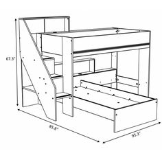 Gravity Twin over Twin L-Shaped Bunk Bed