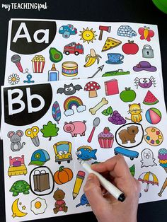 Phonics and Alphabet Activities. These beginning sound I Spy mats are so much fun. Students search through the mat to find all the pictures that match the beginning sound shown. Alphabet Sounds, Alphabet Phonics, Letter Sounds, Alphabet Games, Spanish Alphabet, Kindergarten Literacy, Literacy Activities, Literacy Centers, Phonics For Preschool