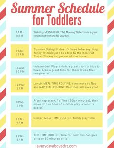 Toddler Schedule - That Make Your Day Go Smoothly A summer schedule for toddlers can help you maintain daily routines that will give your day structure and sanity. Plus some awesome activities for kids doesn't hurt either! Outdoor Activities For Toddlers, Toddler Learning Activities, Summer Activities For Kids, Toddler Preschool, Summer Kids, Summer Plan, Montessori Toddler, Toddler Fun, Toddler Routine