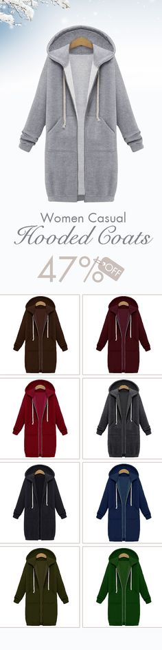 Casual Women Long Sleeve Zipper Hooded Pocket Coats