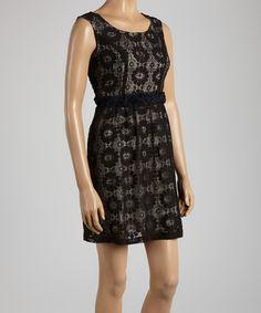 Black & Beige Lace Sleeveless Dress by Young Essence #zulily #zulilyfinds