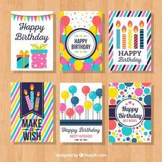 Colección de tarjetas coloridas de cumpl... | Free Vector #Freepik #freevector #cumpleanos #invitacion #feliz-cumpleanos #fiesta Creative Birthday Cards, Funny Birthday Cards, Handmade Birthday Cards, Birthday Wishes, Watercolor Birthday Cards, Birthday Card Drawing, Birthday Card Design, Tarjetas Diy, Planner Stickers