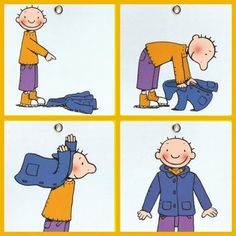 Independence: how to put on a coat. Sequencing Pictures, Sequencing Cards, Story Sequencing, Sequencing Activities, Preschool Activities, First Day Of School, Pre School, Picture Story, Practical Life