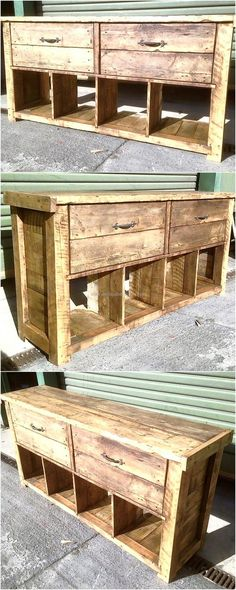 At the end, we would like to show you the rustic repurposed wood pallet media cabinet with the drawers and the hollow spaces below them. The pallets when used without painting them with any color makes the creation give rustic look, it is great to make the things with hands to inspire others and make the home decoration praiseworthy.