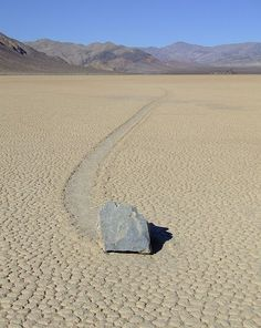 Sailing stones,sliding rocks, andmoving rocksall refer to ageological phenomenonwhere rocks move in long tracks along a smooth valley floor without human or animal intervention. They have been recorded and studied in a number of places aroundRacetrack Playa,Death Valley, where the number and length of travel grooves are notable.