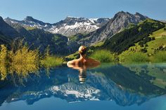 Cambrian Hotel's infinity pool with a view of the Alps in Adelboden, Switzerland ... Please sign me up!