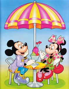 16x20 Vintage Disney Mickey and Minnie Mouse Ice Cream Poster Print RARE