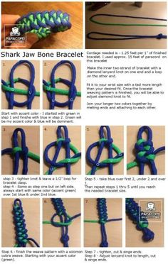 How to make a shark jaw bone paracord bracelet Paracord Weaves, Paracord Braids, 550 Paracord, Paracord Bracelet Instructions, Paracord Tutorial, Bracelet Tutorial, Lanyard Knot, Bracelet Knots, Paracord Bracelets