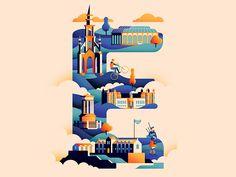 Wanderlust Alphabet  E by Jack Daly #Design Popular #Dribbble #shots