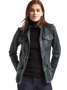 Leather utility moto jacket