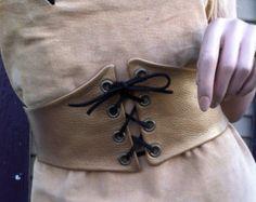 """5"""" Custom Handmade Gold Leather Corset Belt Pirate Waist Cincher Belt Renn Faire Lezas Original"""