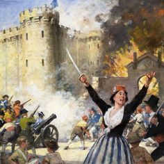 The storming of the Bastille during the French Revolution. There are random children sitting to the left French History, European History, World History, French Revolution History, Marie Antoinette, Storming The Bastille, Renaissance Artworks, Luis Xvi, Bastille Day