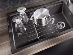 New kitchen sink blanco 35 Ideas Grey Kitchen Floor, Grey Floor Tiles, Stone Kitchen, Grey Flooring, Kitchen Flooring, Glass Backsplash Kitchen, Kitchen Countertops, Kitchen Sink, New Kitchen