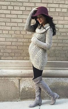 Loving the cowl neck maternity sweater with leggings and a tall boot this transition season!