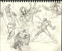 "I got lost in these supposedly ""warmups"". Character Poses, Character Art, Character Design, Gesture Drawing Poses, Iron Man Art, Sketchbook Drawings, Figure Drawing Reference, Cool Sketches, Sketchbook Inspiration"