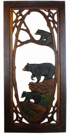 Rustic Carved Bear Screen Door: Would look so cute on a log cabin door.