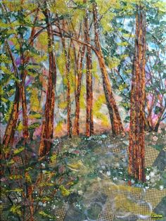 """Laura Adams, """"Trail Down by Robinson Creek I"""" Collage Landscape, Trail, Paper, Painting, Art, Art Background, Painting Art, Kunst, Paintings"""