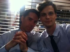 Thomas Gibson and Mathew Gray Gubler.  Hotch still isn't smiling :P   I like this one of these 2, they look soo cute!