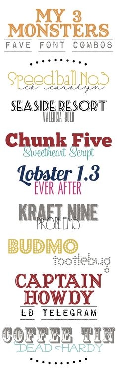 My Favorite Font Combos from {my3monsters.com} #free #fonts