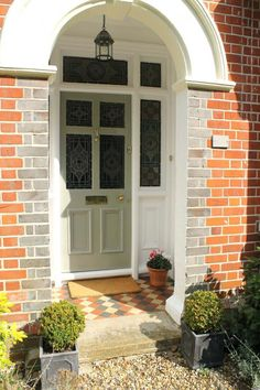 Victorian stained glass door painted in Farrow & Ball Pigeon (Diy Step Front Door) Front Path, Front Door Steps, Front Door Porch, Porch Doors, Porch Steps, House Front Door, Glass Front Door, House Doors, Porch Entrance