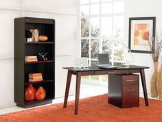A clean and fresh take on the mod style, this office is perfect for any professional.