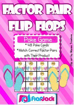 Factor Pair Flip Flops Poke Game Freebie---excellent way to practice facts Teacher Freebies, Classroom Freebies, Classroom Games, Classroom Ideas, Math Resources, Math Activities, Spring Activities, Poke Game, Math Multiplication