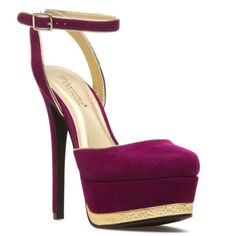 Drop dead gorgeous pumps Strappy maroon with gold accents. They are beautiful but they just don't fit me ): only worn once. Shoe Dazzle Shoes Heels