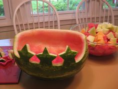 Watermelon goes patriotic for the 4th of July. Think red, white and blue fruit and pick up some American flag picks at your local party store. Another great way to celebrate summer with style! - Chef Kathi