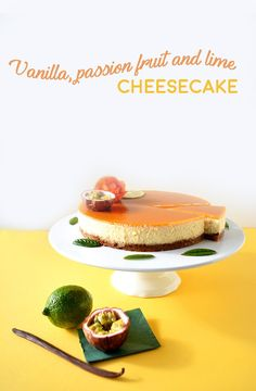 Delicious and easy cheesecake recipe, with a vanilla cream and a passion fruit and lime jelly, made with agar-agar.