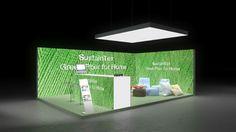 353 Heimtextilien SustainTex   Auffälliger Messestand für einen Hersteller von Heimtextilien.   Das hellgrüne Textilfaser Motiv auf den rahmenlos bedruckten Leuchtwänden und der...