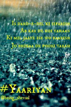 Baarish Yaariyan Lyrics Blue Song Lyric Quotes, Music Lyrics, Music Love, Love Songs, Bollywood Movie Songs, Song Images, Diary Quotes, Romantic Shayari, Beautiful Lyrics