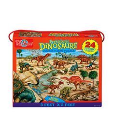 Perfect for pint-size puzzlers, this fabulous floor puzzle boasts 24 jumbo pieces that are easy for little hands to piece together. It features durable, glossy pieces printed with colorful, hand-painted artwork of favorite dinosaurs. A handy case makes it a clever carry-along companion.