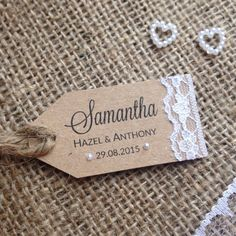 Rustic Lace Wedding Placecards Rustic Wedding by NessaNoelle