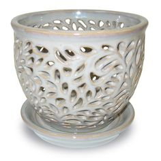 Norcal Pottery 5.5 in. Ceramic Flagstone Lacey Orchid Planter-100511953 - The Home Depot