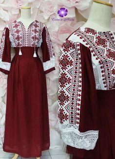 Льняное платье с вышивкой цвета марсала купить Indian Fashion Dresses, Muslim Fashion, Fashion Outfits, Womens Fashion, Modern Islamic Clothing, Red Frock, Fancy Dress Design, Embroidery On Clothes, Long Tops