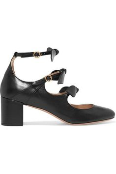 Chloé - Mike Bow-embellished Leather Mary Jane Pumps - Black - IT37.5