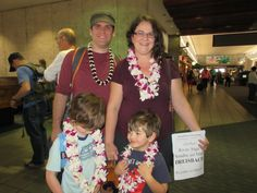 River, Sage, Sandra and Matt enjoyed their leis right off the plane! Here they are in front of their arrival gate. #lethawaiihappen #leigreeting #hawaii #honolulu