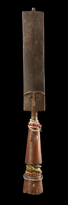 Africa | Fertility doll from the Fante people of Ghana | Wood and glass beads