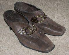 Aerosoles brown leather cinch worm slip on mule heels shoes, womens size 7.5M #Aerosoles #Mules #Casual