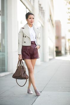 Try this chic look with a cropped jacket and shorts.