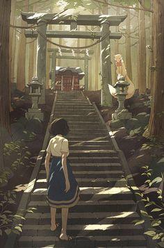 Kevin Hong: Promotional Illustration for indie pixel sidescroller, Miyamori.