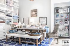 Store Manhattan beach, retail inspiration, retaildesign, blue rug, rustic living, carpet, table decoration, home, white interior, natural interior