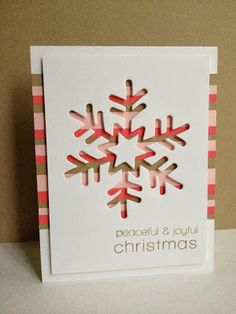 handmade Christmas card frin I'm in Haven: Striped Snowflakes ... negative space die cut snowflake over striped paper ... luv this snowflake die with a star in the center ... great card!!