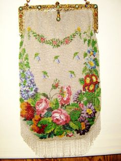 Antique micro bead floral. My largest purse at 14 1/2 inches! Barbara Jones Collection