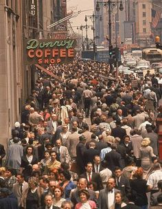 Donroy Coffee Shop - traffic on 7th Avenue in the Garment District. NYC, 1960.