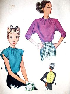 1940s FILM NOIR Blouse Pattern McCALL 6220 Lovely Star Burst Neckline 2 Styles Includes Two Tone Version Bust 34 Vintage Sewing Pattern FACTORY FOLDED