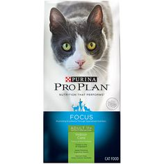 Pro Plan Focus Indoor Care Adult 11  Cat Food ** Startling review available here  (This is an amazon affiliate link. I may earn commission from it)