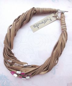 Brown String Leather Necklace Silver Beads Leather от Kostimusha, $56.00