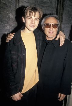 leonardo dicaprio, red rock west party with dennis hopper, 1994 Leo And Kate, Young Leonardo Dicaprio, Dennis Hopper, Muse, Yellow Sweater, Hollywood Actor, Celebs, Celebrities, Actors & Actresses