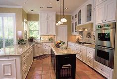"So I want white cabinets in my ""Tuscan"" kitchen. This is a lot like the look I want."
